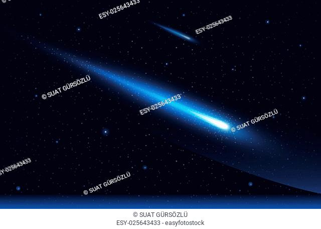 Vector illustration of two comet in the starry space sky. Elements are layered separately in vector file
