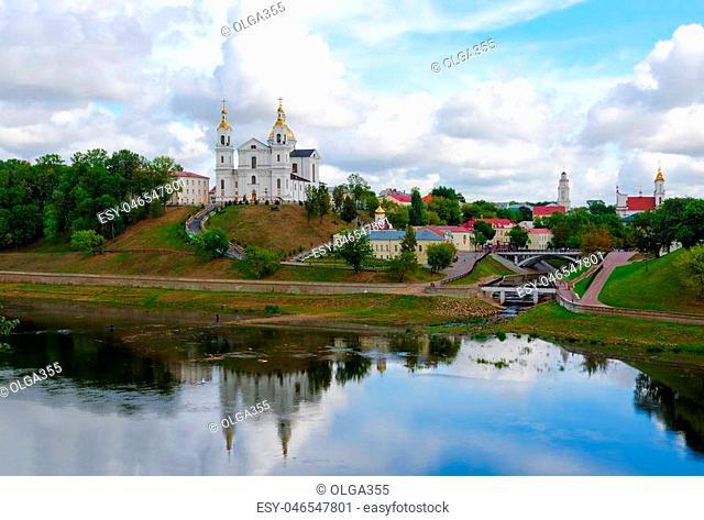 Panoramic view of historic center of Vitebsk over Western Dvina, Belarus