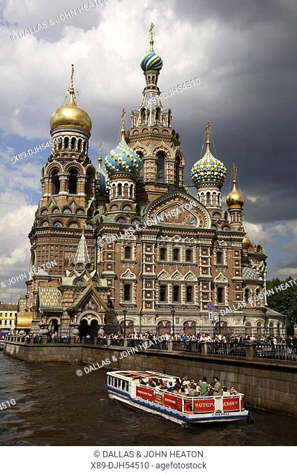 Russia, St Petersburg, Church of the Resurrection Church on Spilled Blood, Griboedov Canal, Tourist Boat