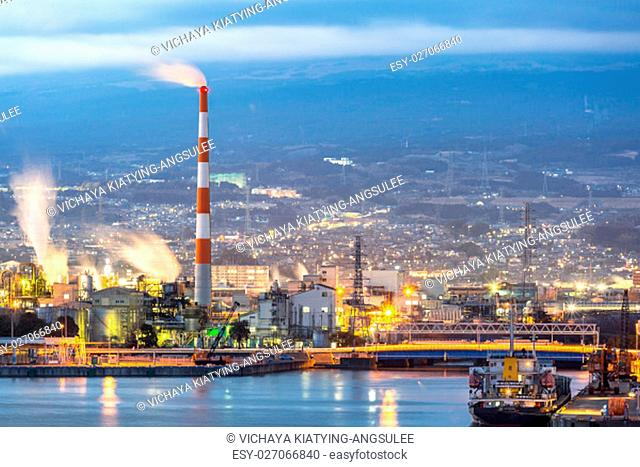 Japan industry Factory from Shizuoka prefecture with Mountain Fuji background