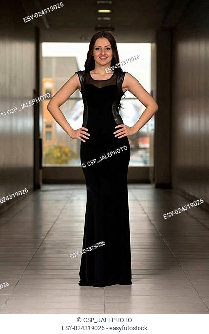 Beautiful Model Wearing A Black Dress