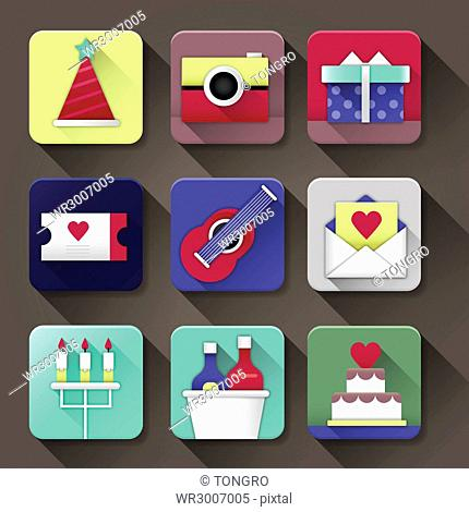 Icon set related to events