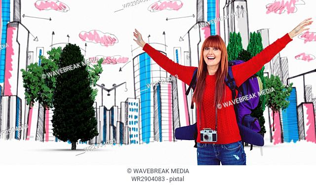 Digital composite image of happy female tourist with buildings and trees in background