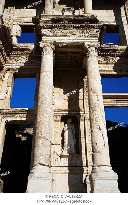 Turkey, Kusadasi, Ephesus, detail of the Library of Celsus