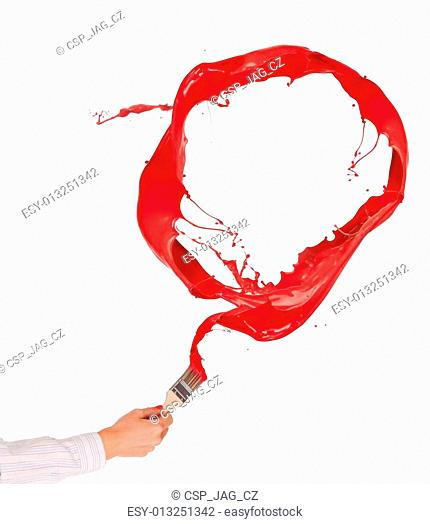 Woman hand painting red splashes circle, isolated on white background