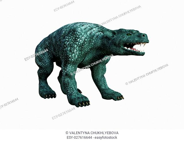 3D rendering of a fantasy gargoyle hound isolated on white background