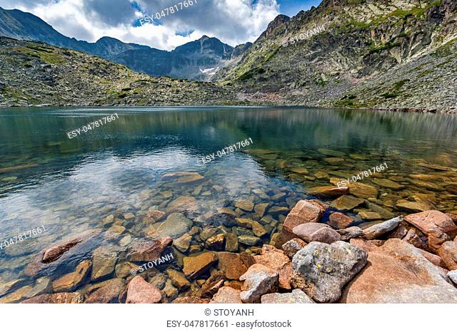 Panoramic view of Musalenski lakes and Musala peak, Rila mountain, Bulgaria
