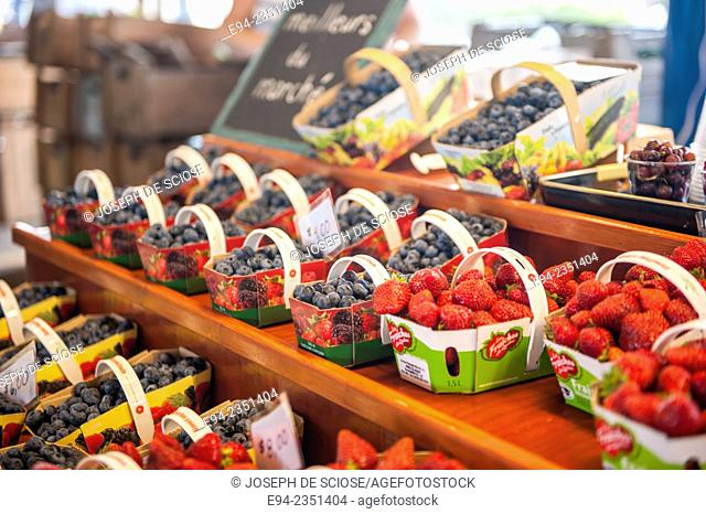 Fruit on display inside the farmer's market, Marché du Vieux-Port in Quebec City, Canada