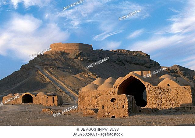 Tower of Silence and Zoroastrian village, near Yazd, Iran