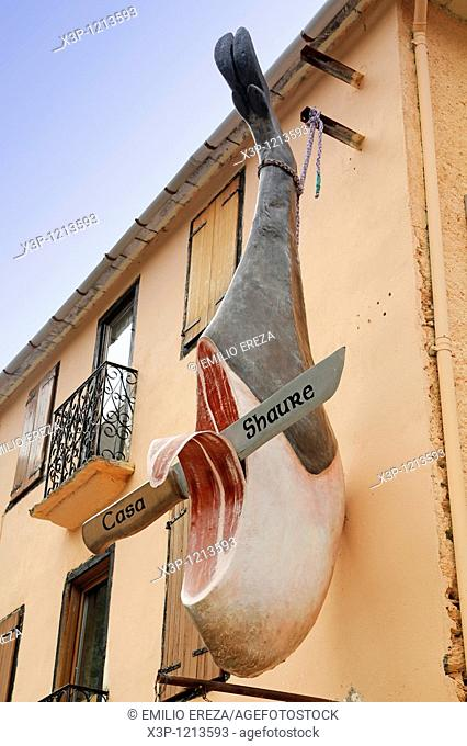 Curious advertising ham in Pontaut, a little town in Aran valley, Pyrenees, Lleida, Catalonia, Spain