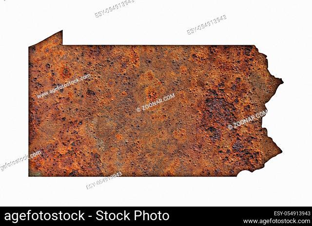Karte von Pennsylvania auf rostigem Metall - Map of Pennsylvania on rusty metal
