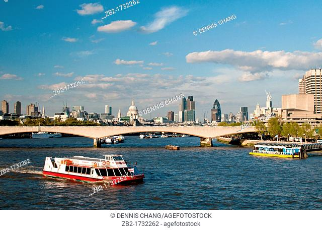 London Waterloo Bridge over River Thames, UK  St Paul's cathedral and City of London skyline in the background