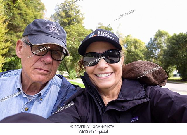 Senior couple traveling in New Zealand