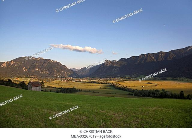 Scenery with Oberammergau, Upper Bavaria, Bavaria, Germany