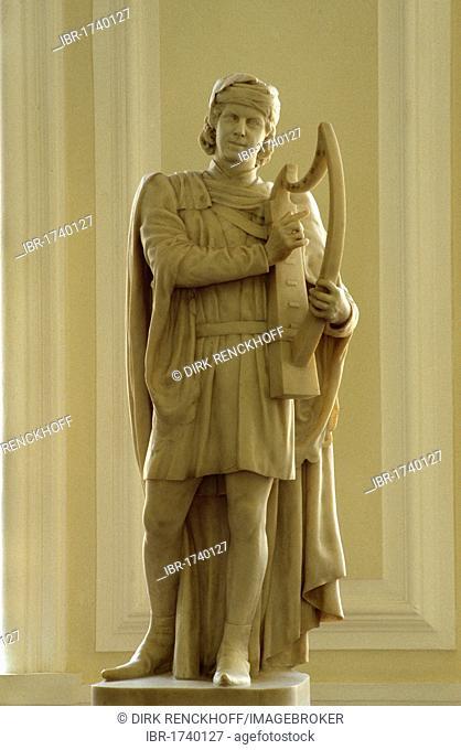 Statue of Daffyd ap Gwylim, city hall, Cardiff, Wales, United Kingdom, Europe