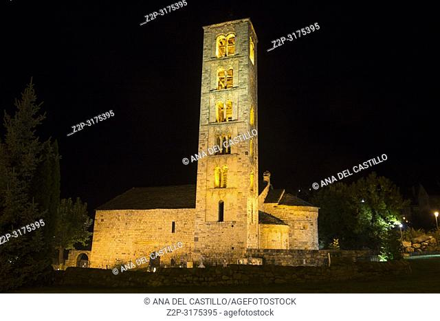 San Climent de Taull village by night Boi valley Lleida Catalonia Spain