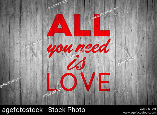 All you need is love - handmade calligraphy, illustrated background