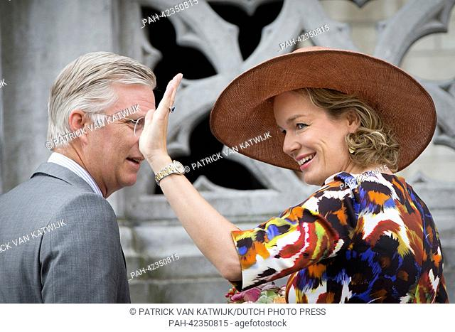 King Philippe and Queen Mathilde visit Leuven during their tour through Belgium as new king and queen, 6 September 2013. It is the first visit of the King and...