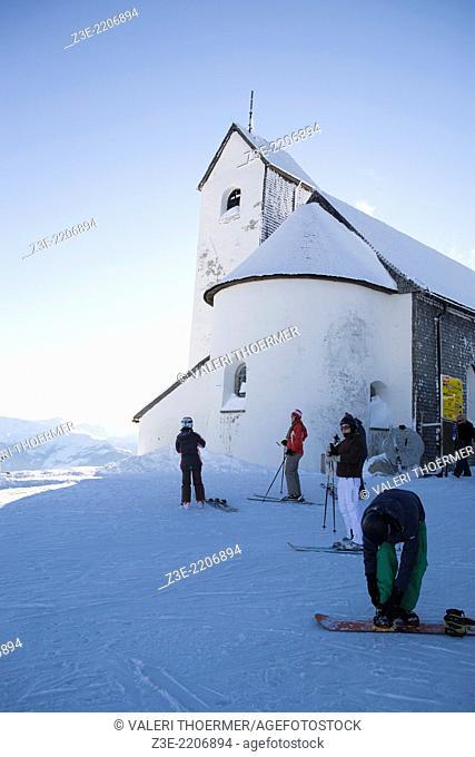 Ski area Wilder Kaiser in Alps near Kufstein in Austria, Europe