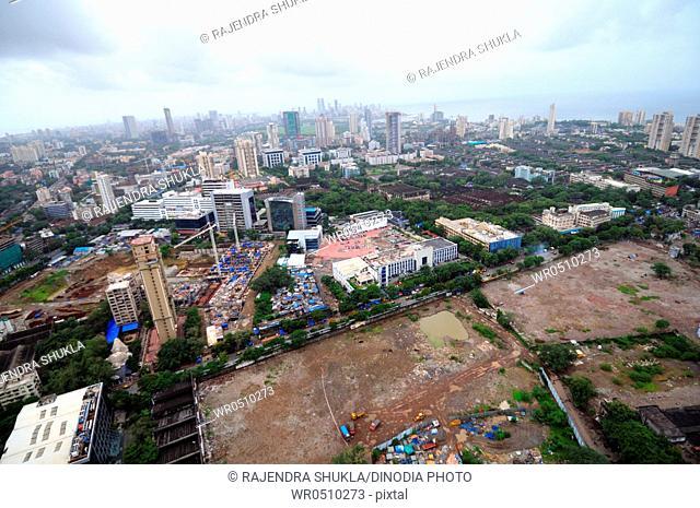 aerial view of lower parel kamla mill and dlf projects and century mill land , Bombay Mumbai , Maharashtra , India