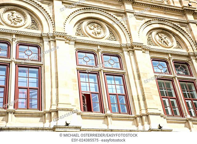 Facade of the historic Opera in Vienna, Austria, Europe.