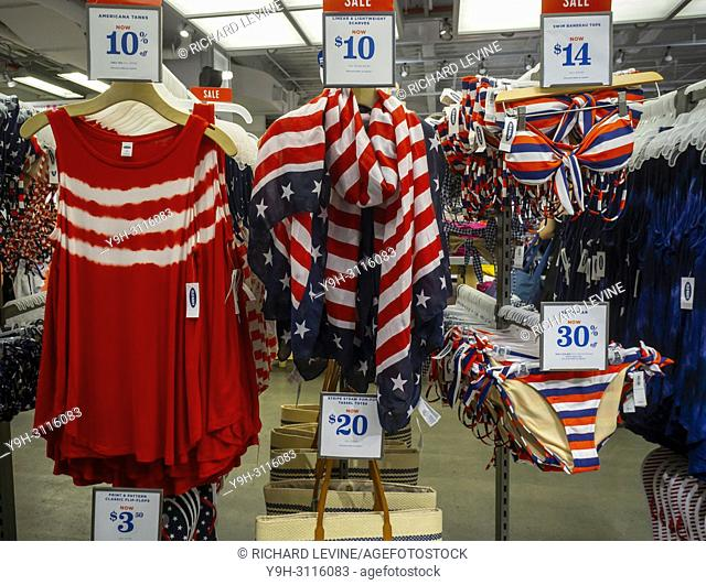 Patriotic themed summer apparel for the Fourth of July holiday at an Old Navy store in New York on Tuesday, June 19, 2018. (© Richard B. Levine)