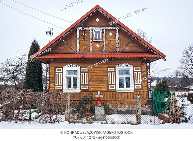 Wooden house in Soce village on so called The Land of Open Shutters trail, famous for traditional architecture in Podlaskie Voivodeship of Poland
