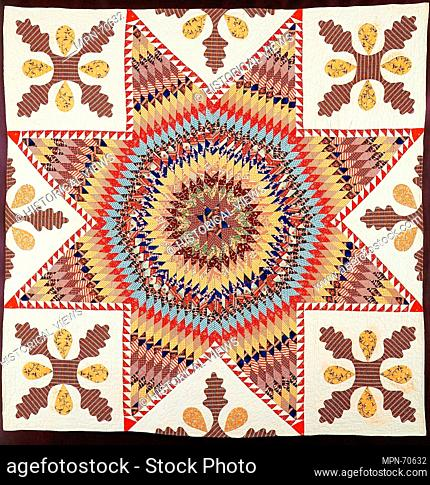 Quilt, Star of Bethlehem. Maker: Members of the congregation of the First Baptist Church, Perth Amboy; Date: ca. 1845-48; Geography: Made in Middlesex County