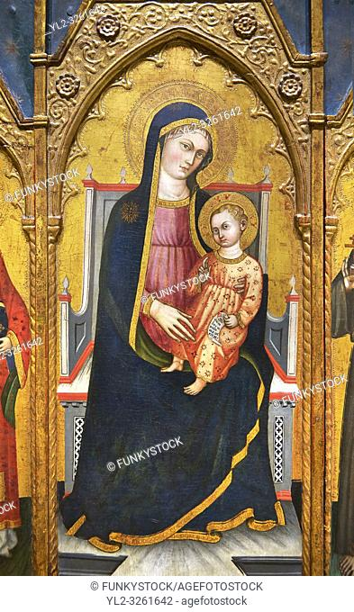 Gothic Altarpiece of Madonna and child, by Pietro da Pisa from liguria, circa 1401-1423, tempera and gold leaf on for wood