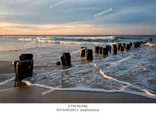 Early morning on the oceanfront. Atlantic Ocean coastline near New York in the area of Rockaway Park