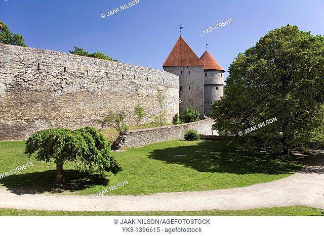 Old Medieval Town Wall in Tallinn, Estonia, Europe