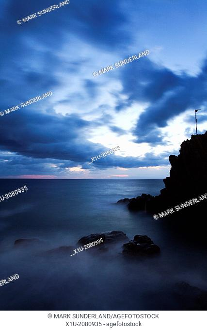 Twilight Seascape from Riomaggiore Cinque Terre Liguria Italy
