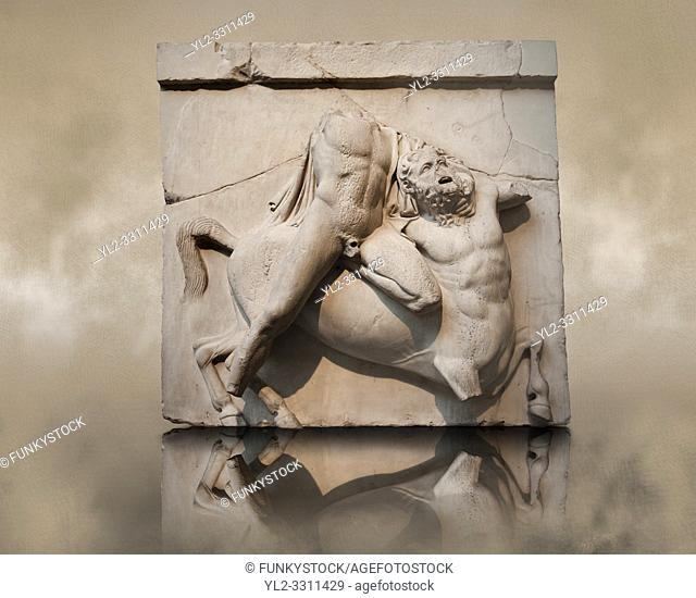 Sculpture of Lapiths and Centaurs battling from the Metope of the Parthenon on the Acropolis of Athens. South Metope no II