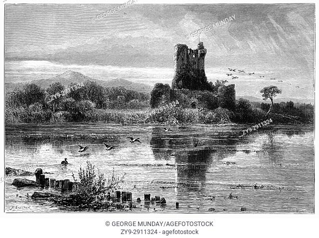 1870: The unrestored Ross Castle, a 15th-century tower house and keep on the edge of Lough Leane. It is the ancestral home of the O'Donoghue clan