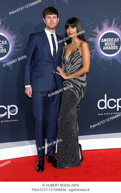 James Blake and Jameela Jamil attend the 2019 American Music Awards, AMAs, at Microsoft Theatre in Los Angeles, USA, on 25 November 2019