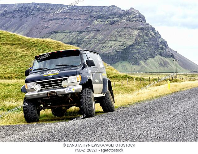 Travelling empty roads of Iceland is a bit risky in case of problems with vehicle, Southwestern Iceland, Arctic regions