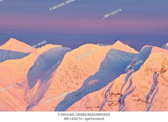 Summits of the Akka mountains in the evening sun, Stora Sjoefallet national park, Laponia World Heritage Site, Lapland, Norrbotten, Sweden, Scandinavia, Europe