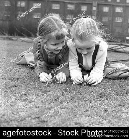 Two little girls are happy when they see the first crocuses, which predict a soon arrival of spring, on 9 April 1963. | usage worldwide. - /Germany