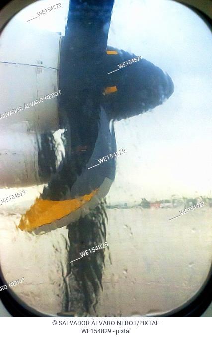Detail of a plane propeller ATR 72
