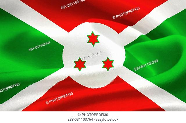 flag of Burundi waving in the wind. Silk texture pattern
