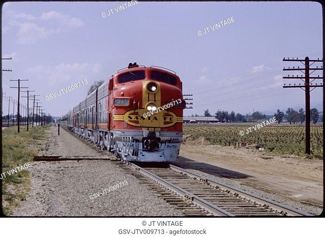 Santa Fe Diesel Locomotive Train, near Cucamonga, California, USA, 1965