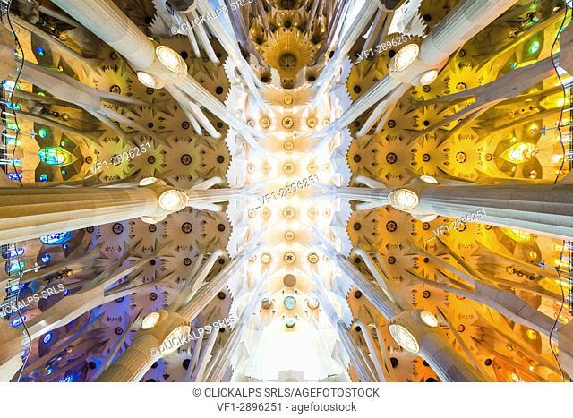 Barcelona, Catalonia, Spain, Southern Europe. Architectural details of Antoni Gaudi's Sagrada Familia