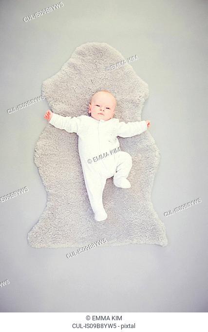 Newborn baby boy, lying on rug, overhead view