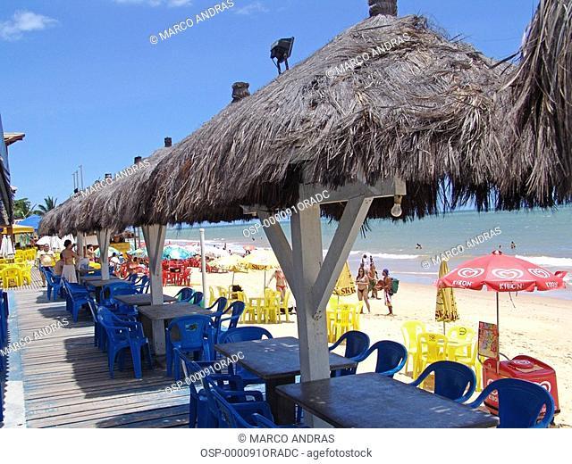 a chain of kiosks tables at bahia beach