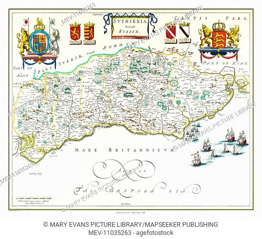 Map of Sussex by Johan Blaeu