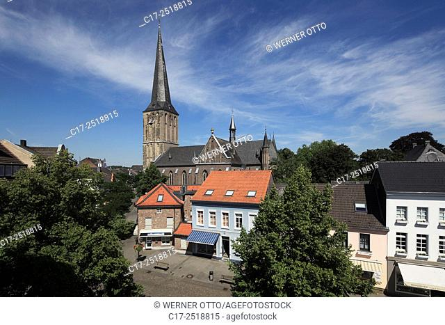 Germany, Viersen, Niers, Lower Rhine, Rhineland, North Rhine-Westphalia, NRW, Viersen-Suechteln, panorama, catholic parish church Saint Clemens, Late Gothic