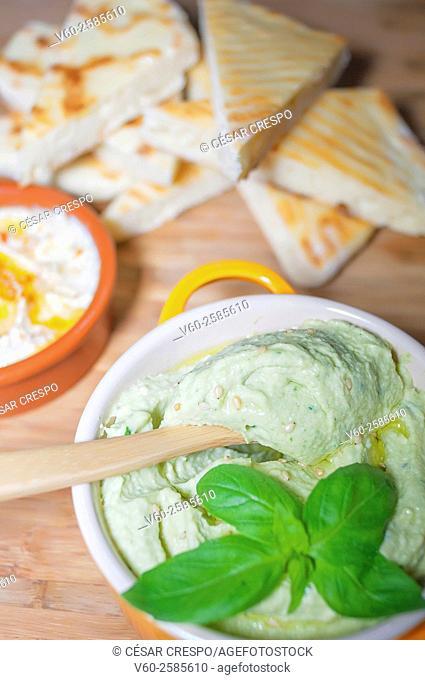 -Pita bread with Humus-basil- High Cuisine (Spain)
