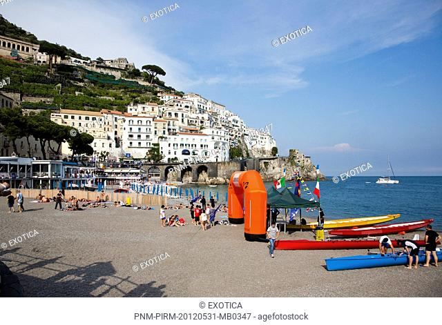 Buildings in a town on a hill, Marina Grande, Amalfi, Province of Salerno, Campania, Italy