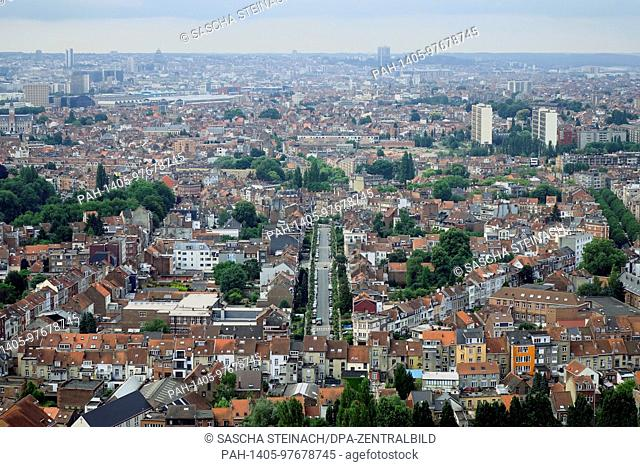 A view from the Atomium of residential areas in the Belgian capital Brussels, pictured on 26.06.2017. The City of Brussels is the capital of the Kingdom of...