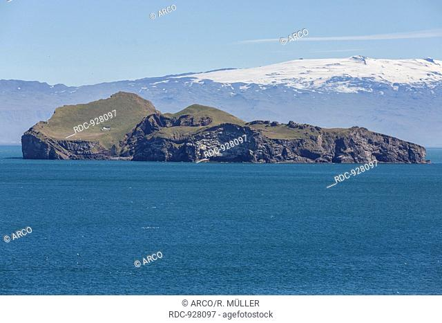 Ellidaey and Eyjafjallajökull, Vestmannaeyjar, Westman islands, Iceland